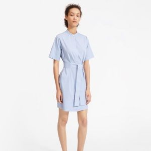 Everlane cotton collarless belted shirt dress
